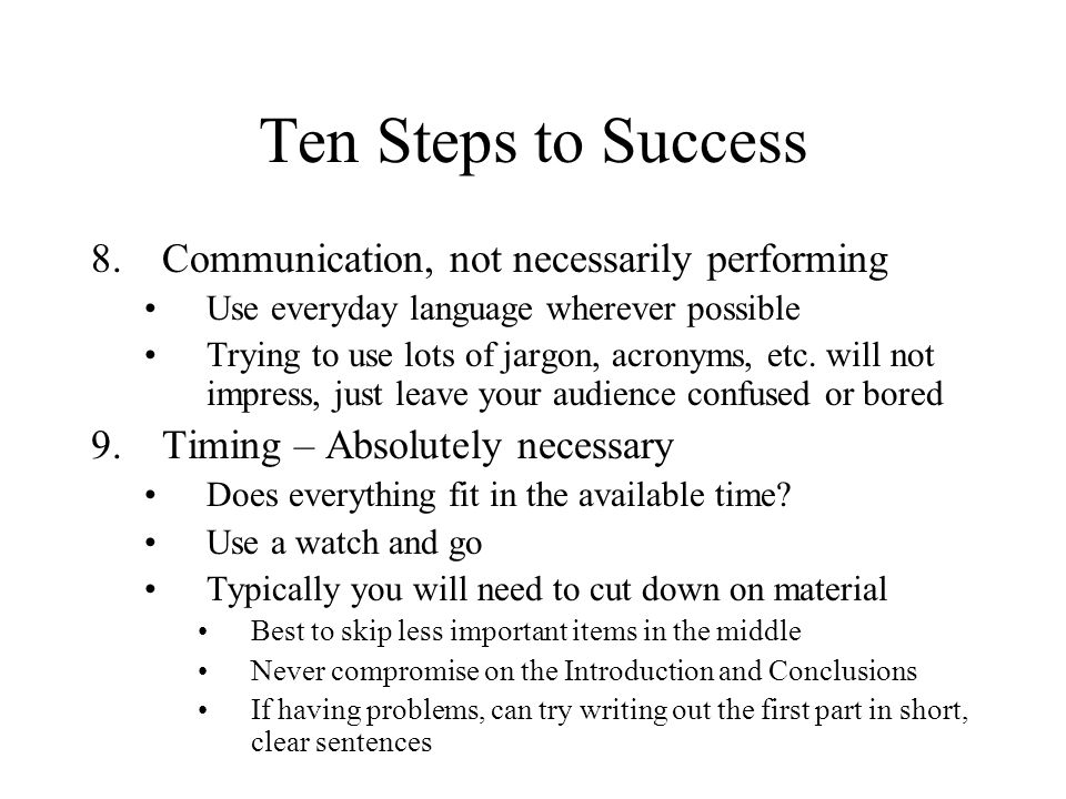 Ten Steps to Success Communication, not necessarily performing