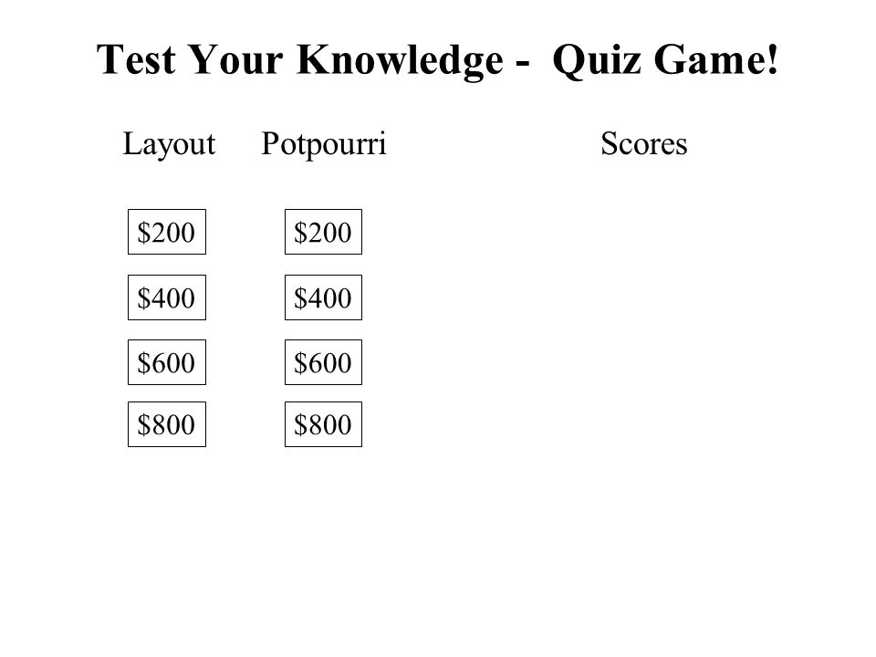 Test Your Knowledge - Quiz Game!