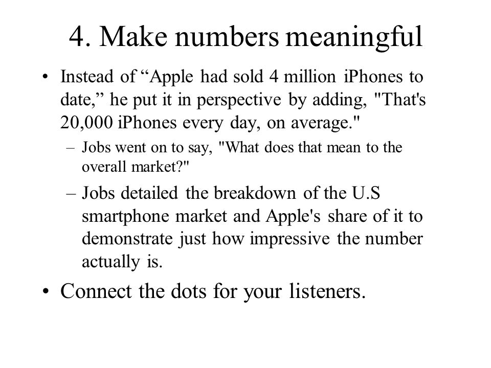 4. Make numbers meaningful