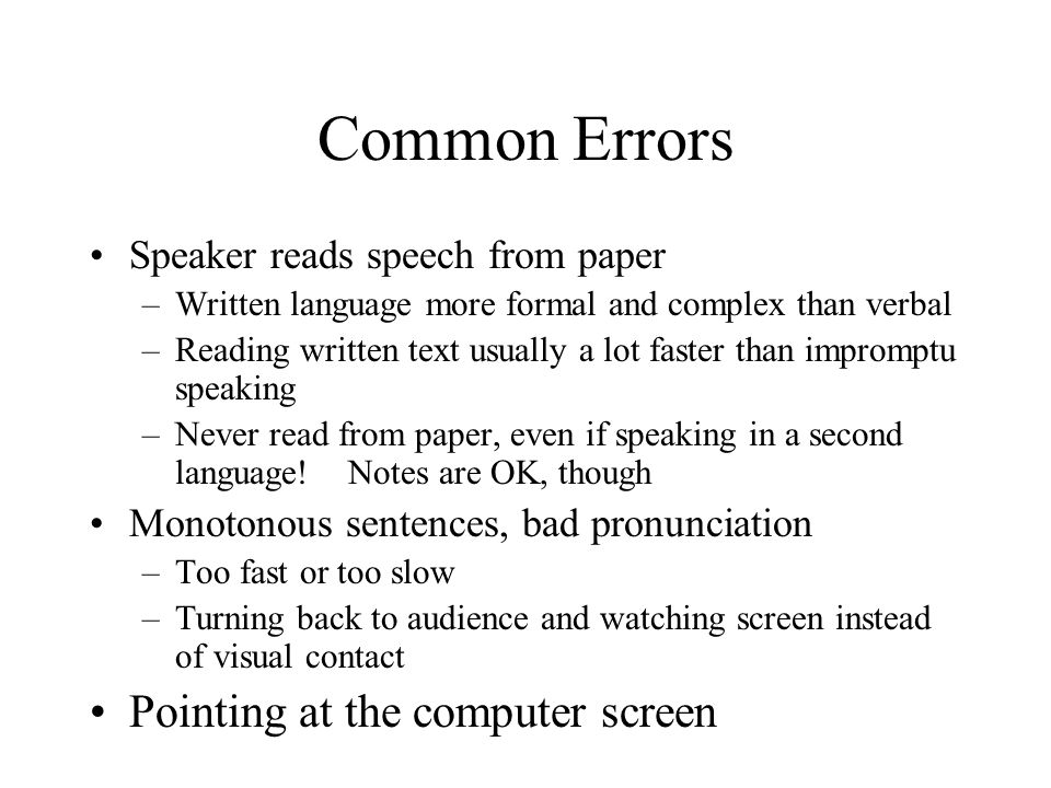 Common Errors Pointing at the computer screen