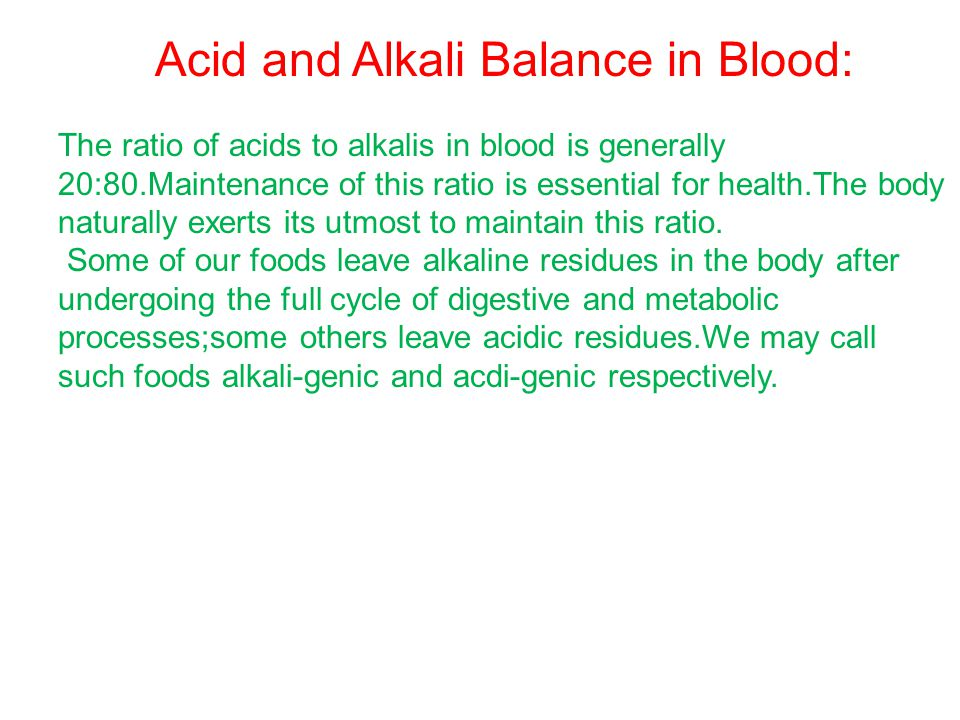 Acid and Alkali Balance in Blood: