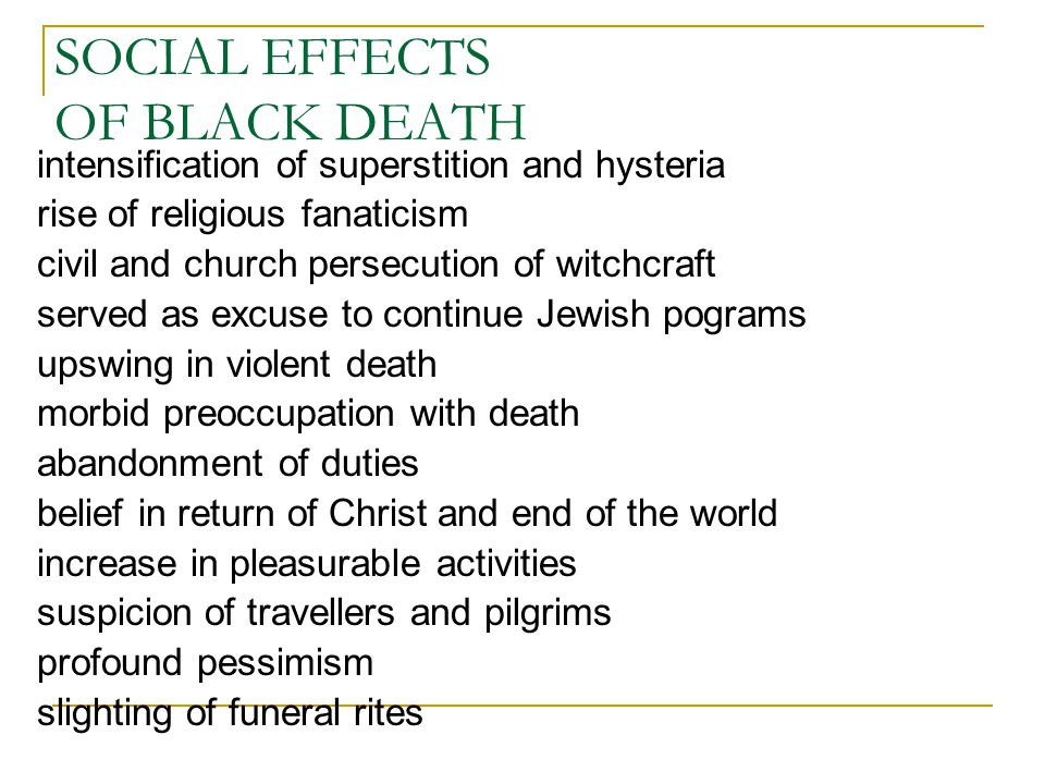SOCIAL EFFECTS OF BLACK DEATH