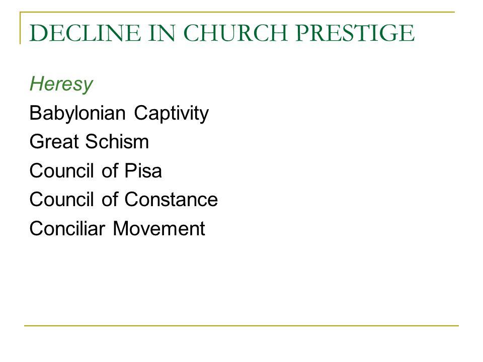 DECLINE IN CHURCH PRESTIGE