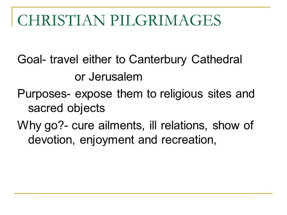 CHRISTIAN PILGRIMAGES