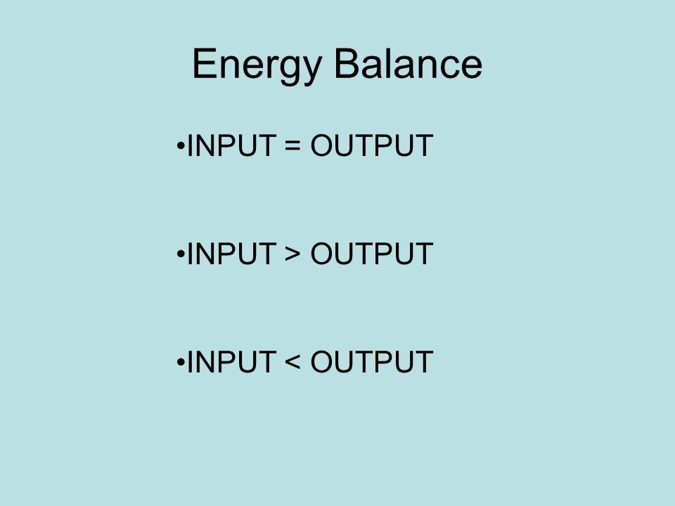 Energy Balance INPUT = OUTPUT INPUT > OUTPUT INPUT < OUTPUT