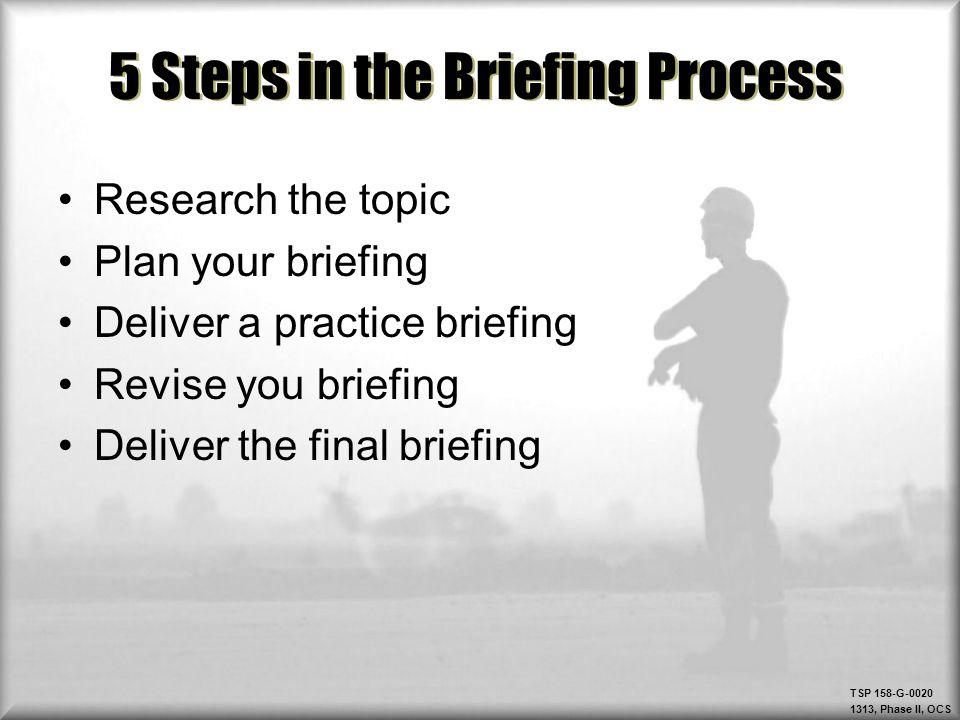 5 Steps in the Briefing Process
