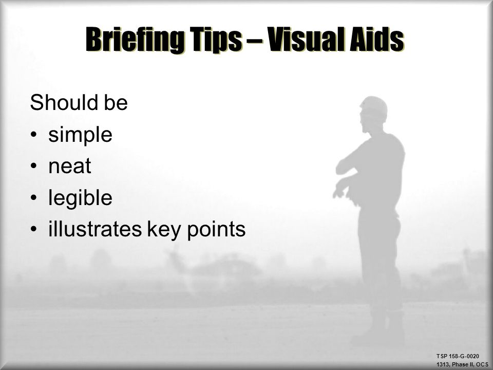 Briefing Tips – Visual Aids