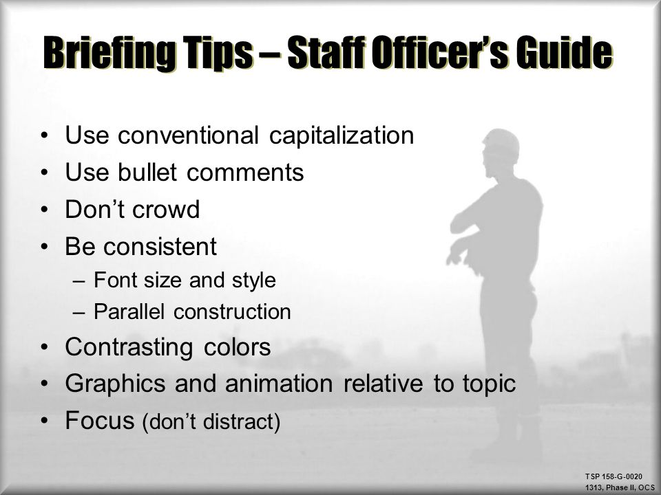 Briefing Tips – Staff Officer's Guide