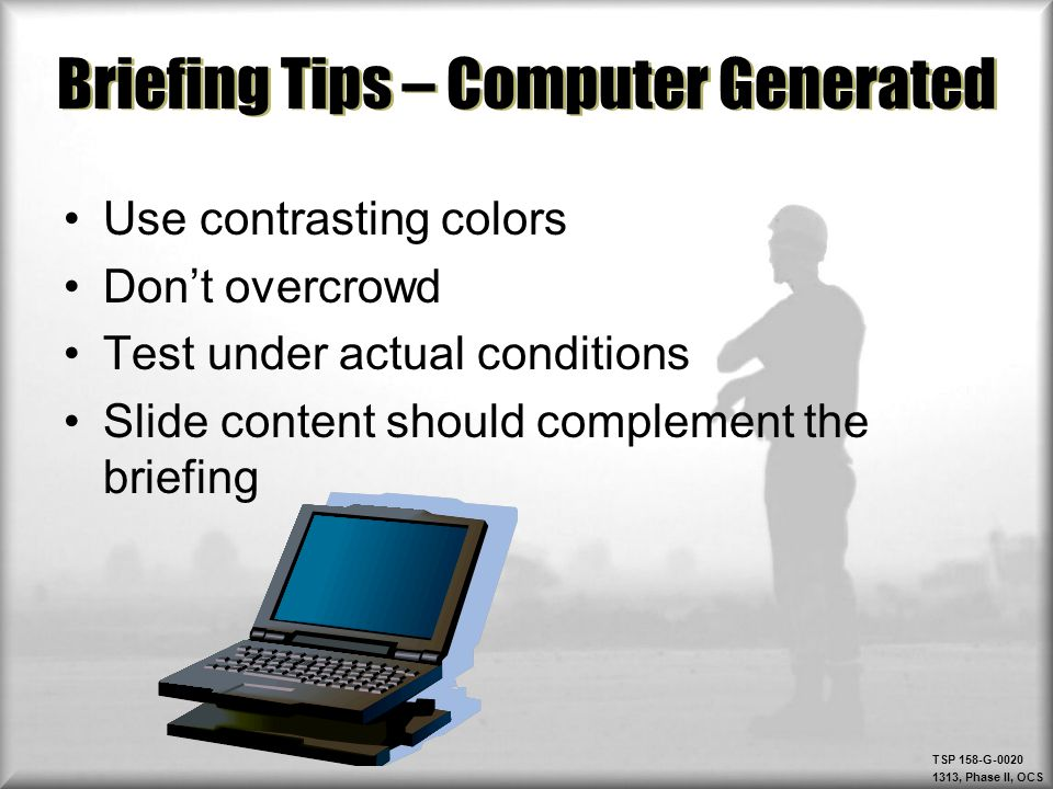 Briefing Tips – Computer Generated