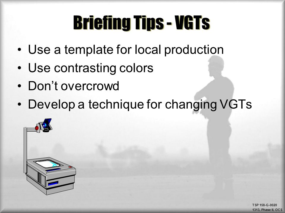 Briefing Tips - VGTs Use a template for local production
