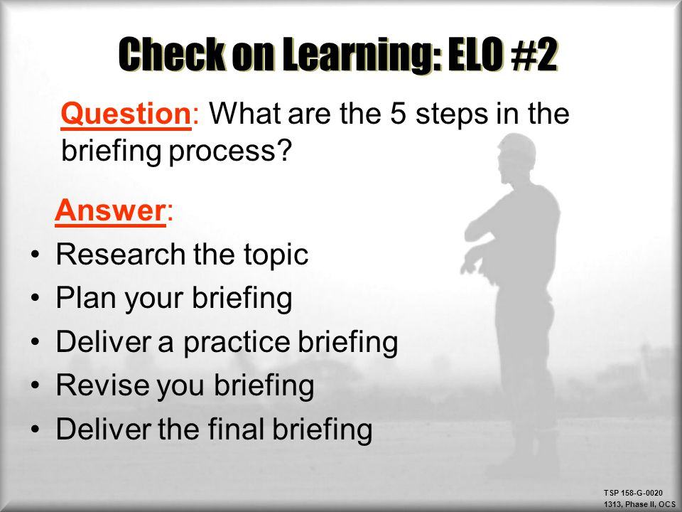 Check on Learning: ELO #2