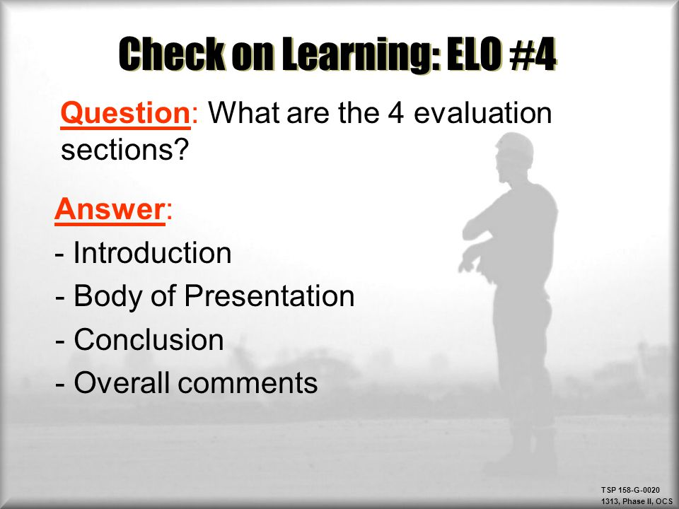 Check on Learning: ELO #4