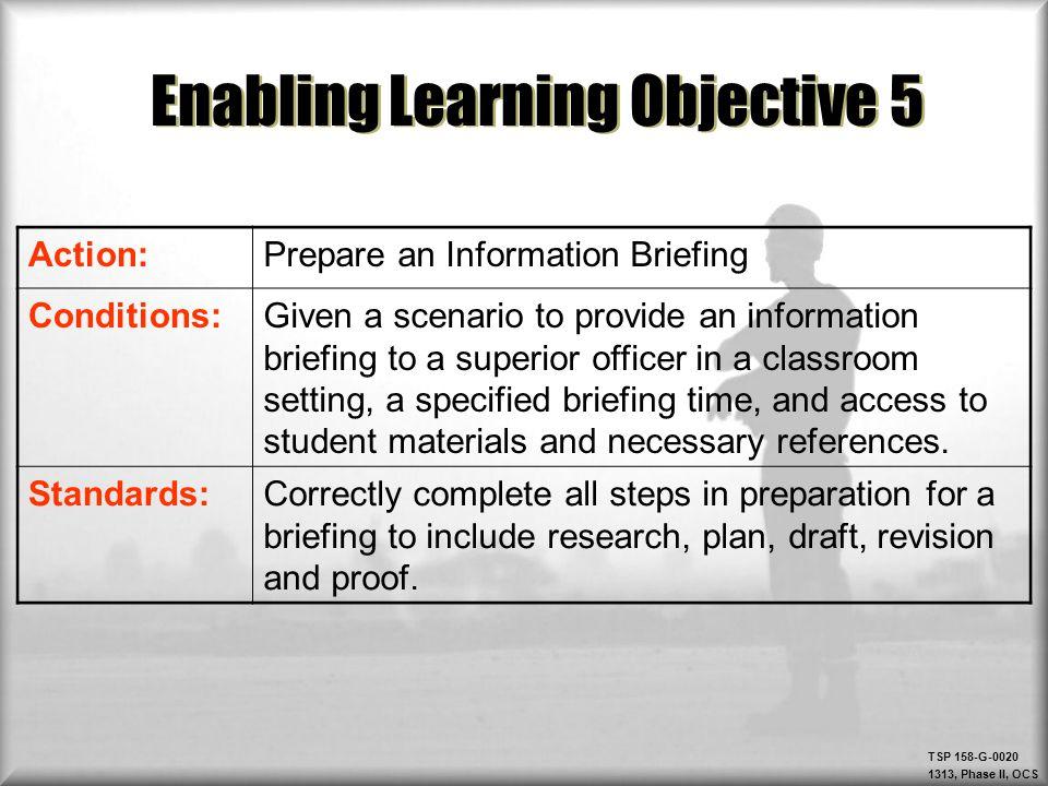 Enabling Learning Objective 5