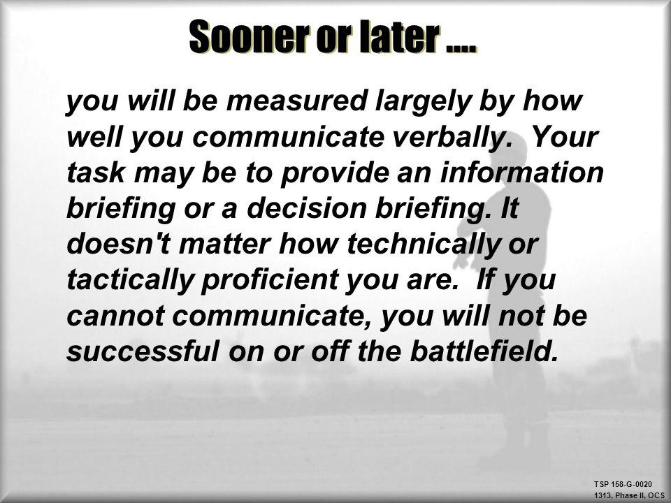 Sooner or later ….
