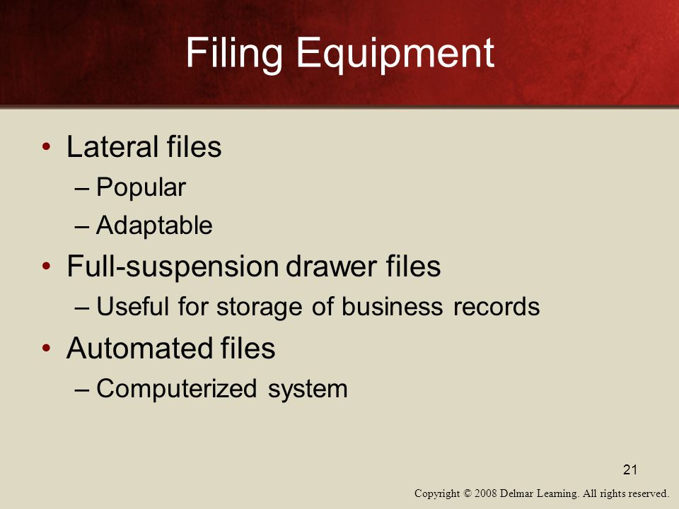 Filing Equipment Lateral files Full-suspension drawer files
