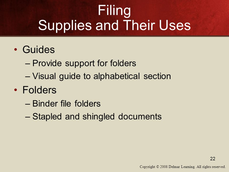 Filing Supplies and Their Uses