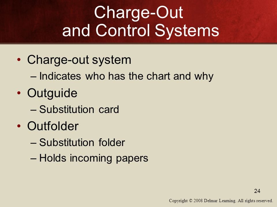 Charge-Out and Control Systems