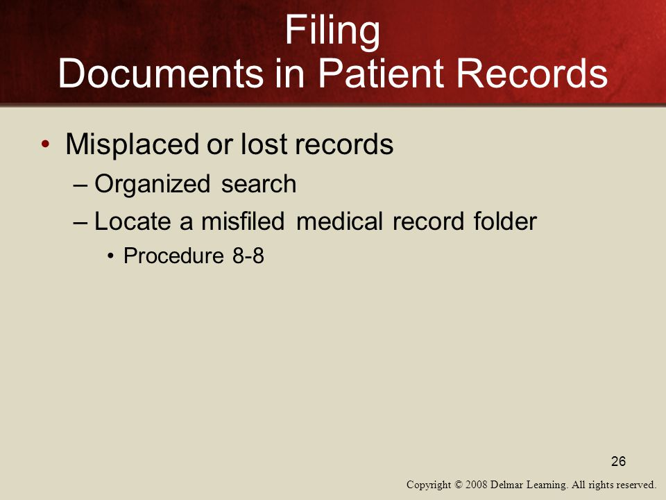 Filing Documents in Patient Records