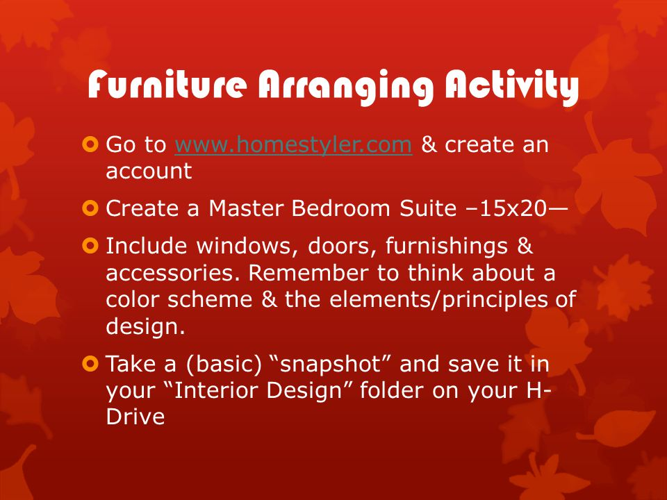 Furniture Arranging Activity