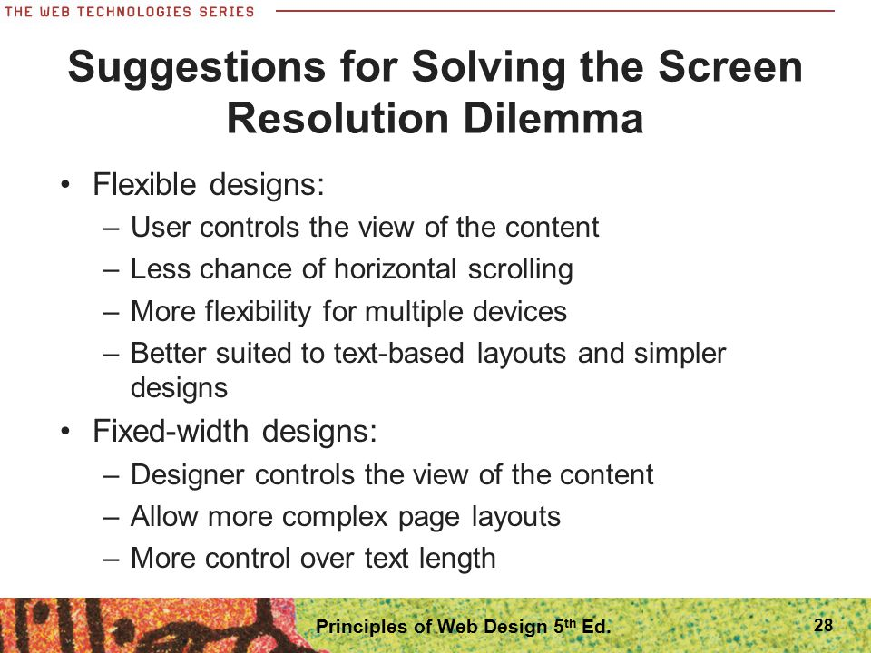 Suggestions for Solving the Screen Resolution Dilemma