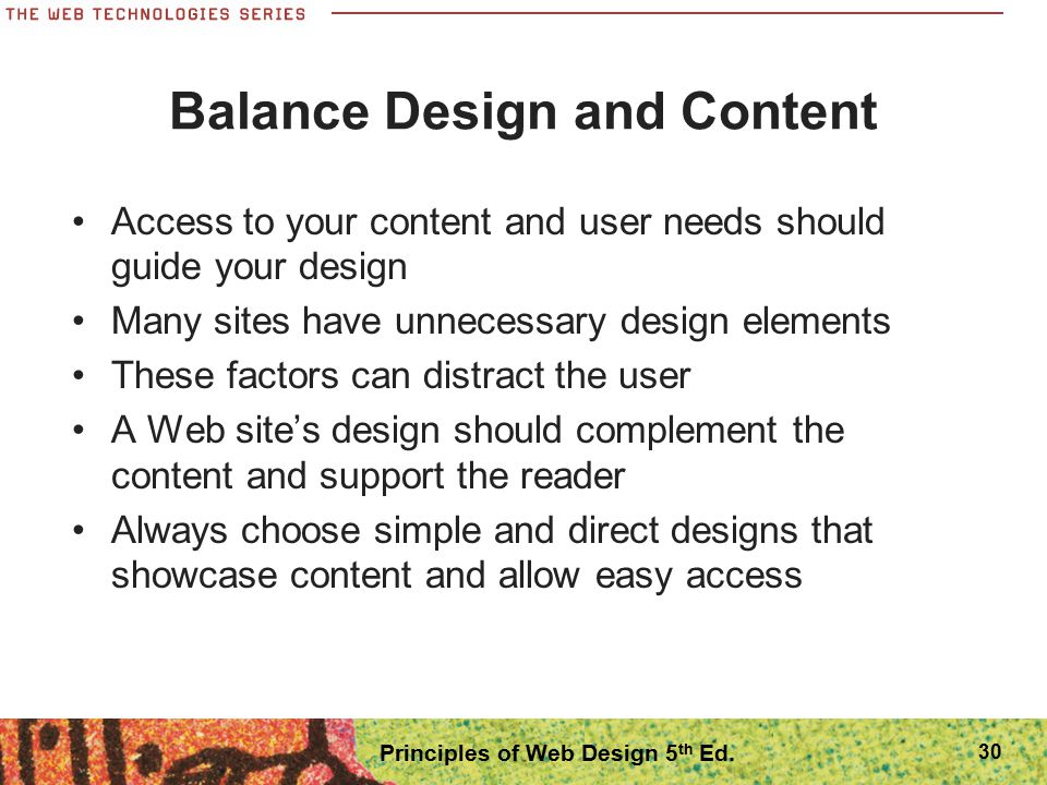 Balance Design and Content