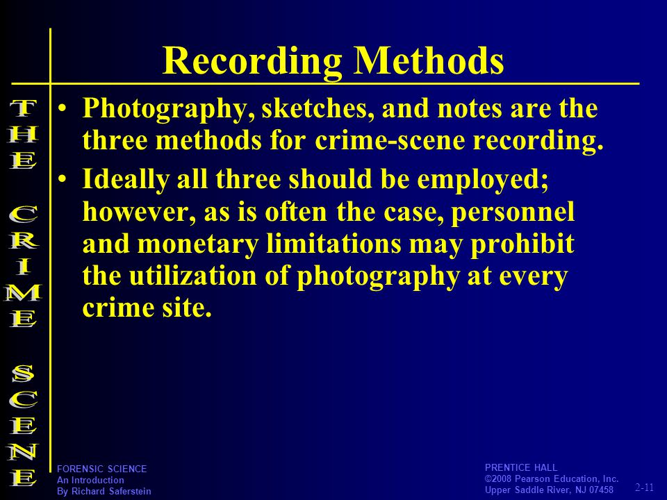 Recording Methods THE CRIME SCENE