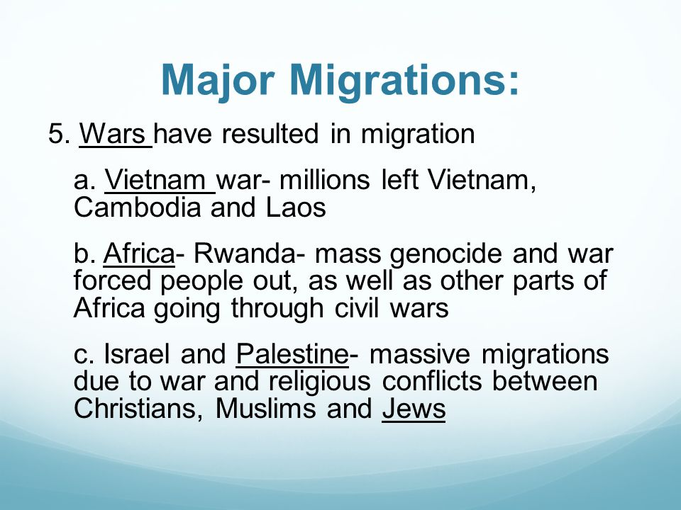 Major Migrations: