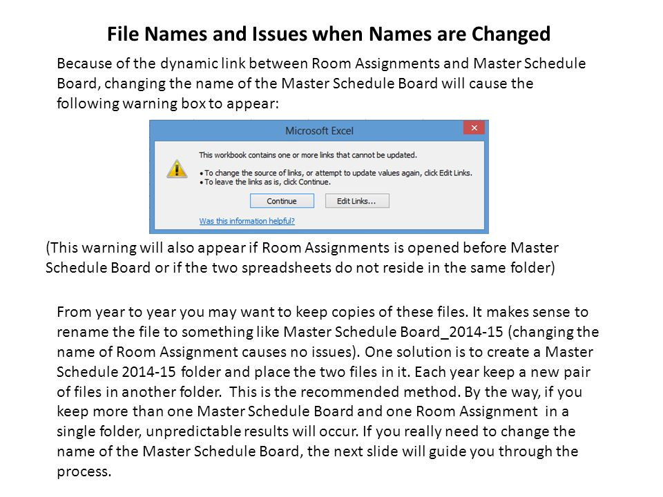 File Names and Issues when Names are Changed