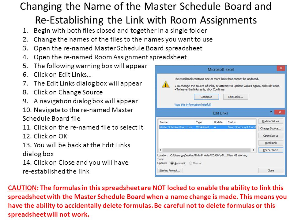 Changing the Name of the Master Schedule Board and