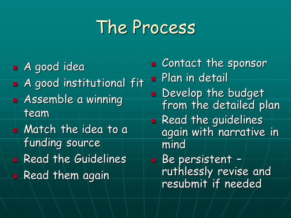 The Process Contact the sponsor A good idea Plan in detail