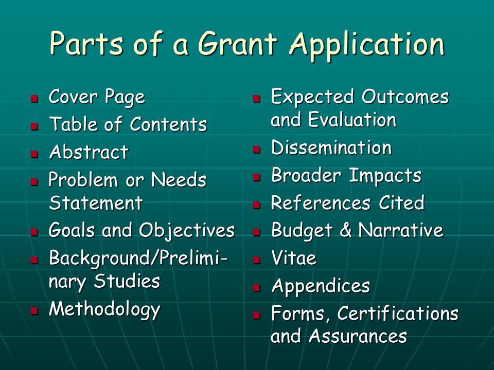 Parts of a Grant Application