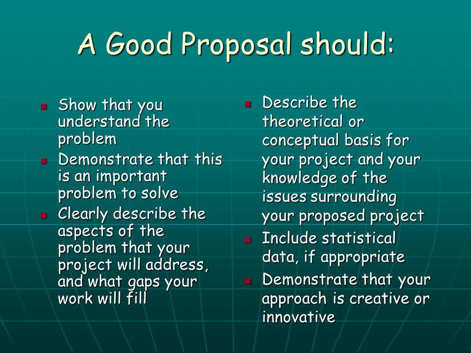 A Good Proposal should: