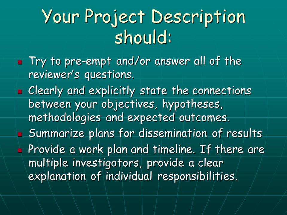 Your Project Description should:
