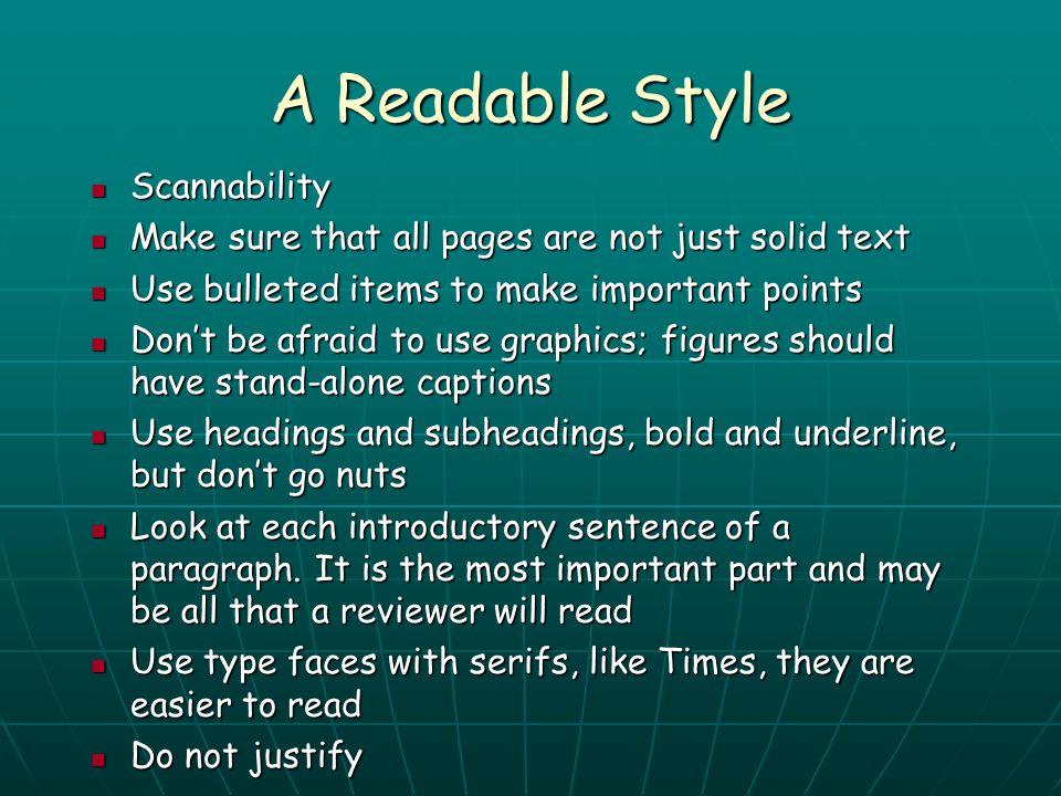 A Readable Style Scannability