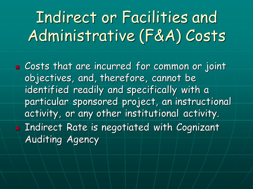 Indirect or Facilities and Administrative (F&A) Costs