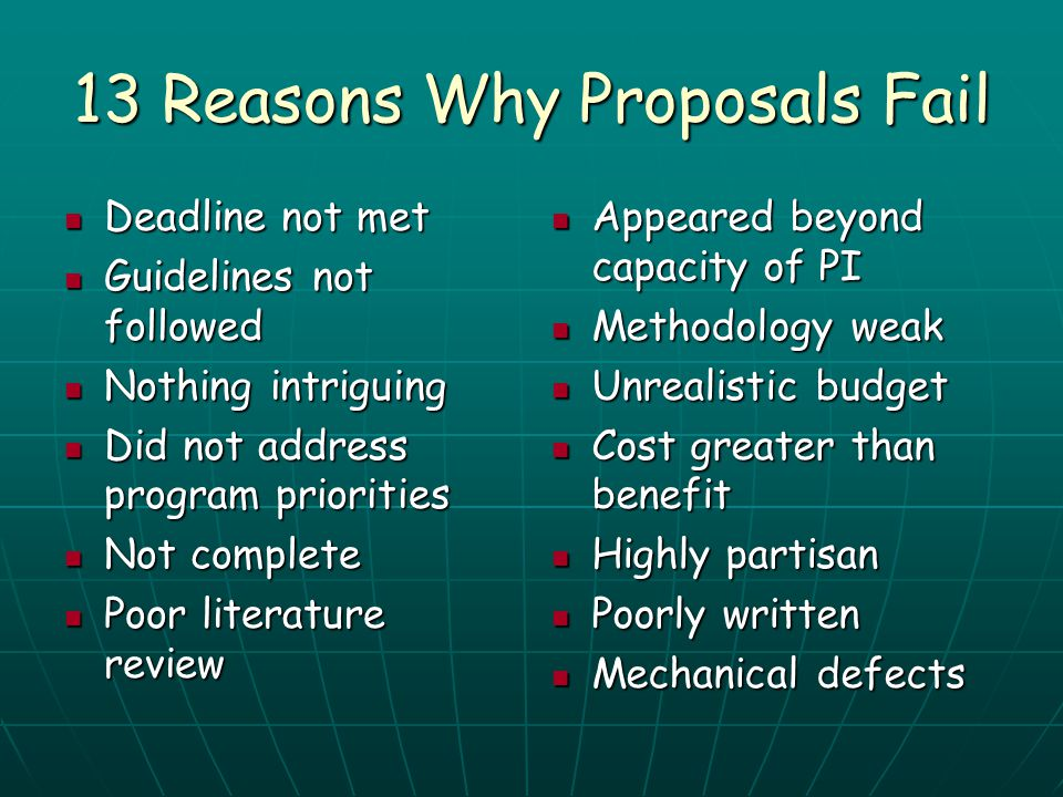 13 Reasons Why Proposals Fail