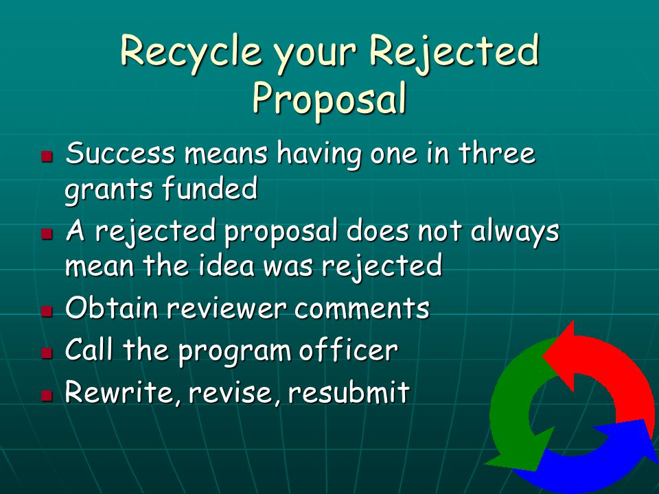 Recycle your Rejected Proposal