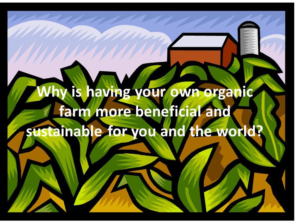 Why is having your own organic farm more beneficial and sustainable for you and the world
