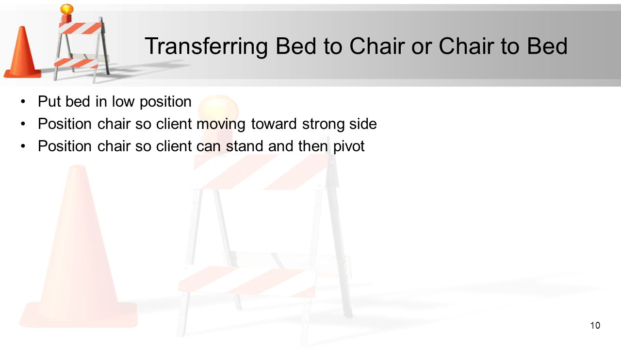 Transferring Bed to Chair or Chair to Bed