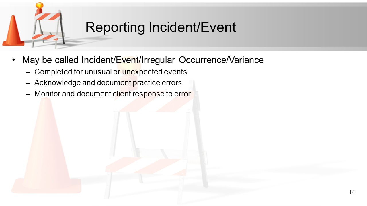 Reporting Incident/Event