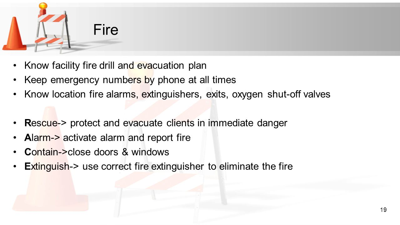 Fire Know facility fire drill and evacuation plan