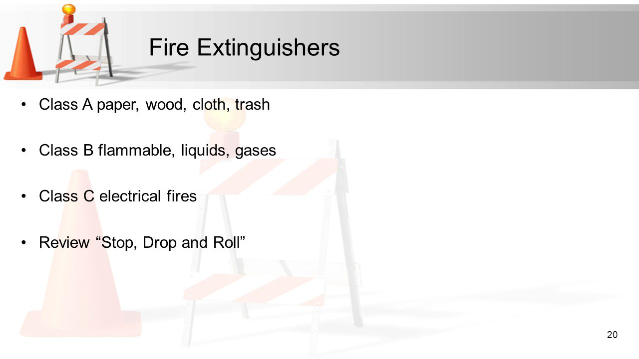 Fire Extinguishers Class A paper, wood, cloth, trash
