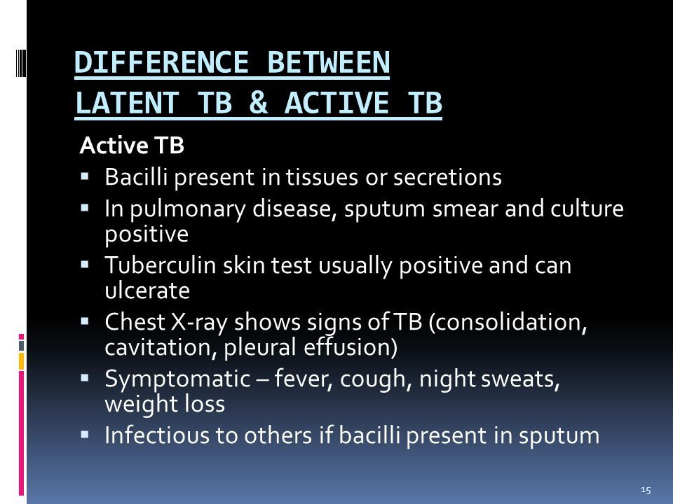 DIFFERENCE BETWEEN LATENT TB & ACTIVE TB