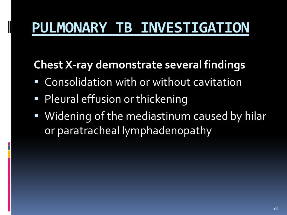 PULMONARY TB INVESTIGATION