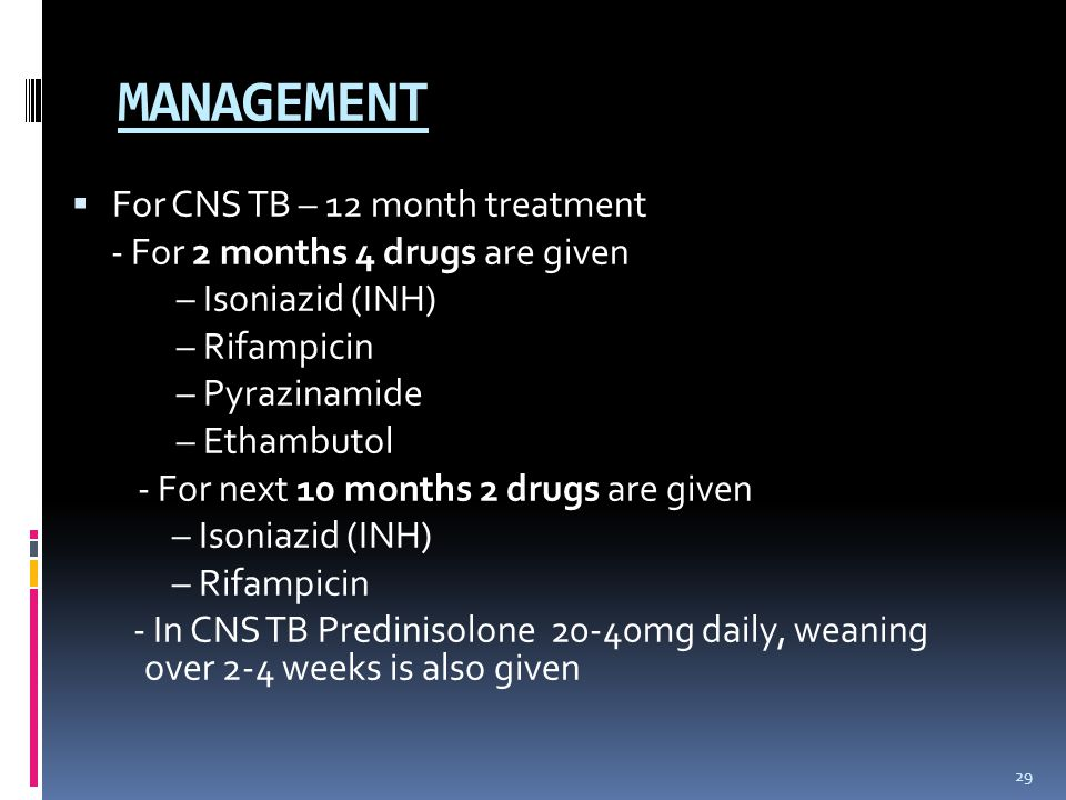 MANAGEMENT For CNS TB – 12 month treatment