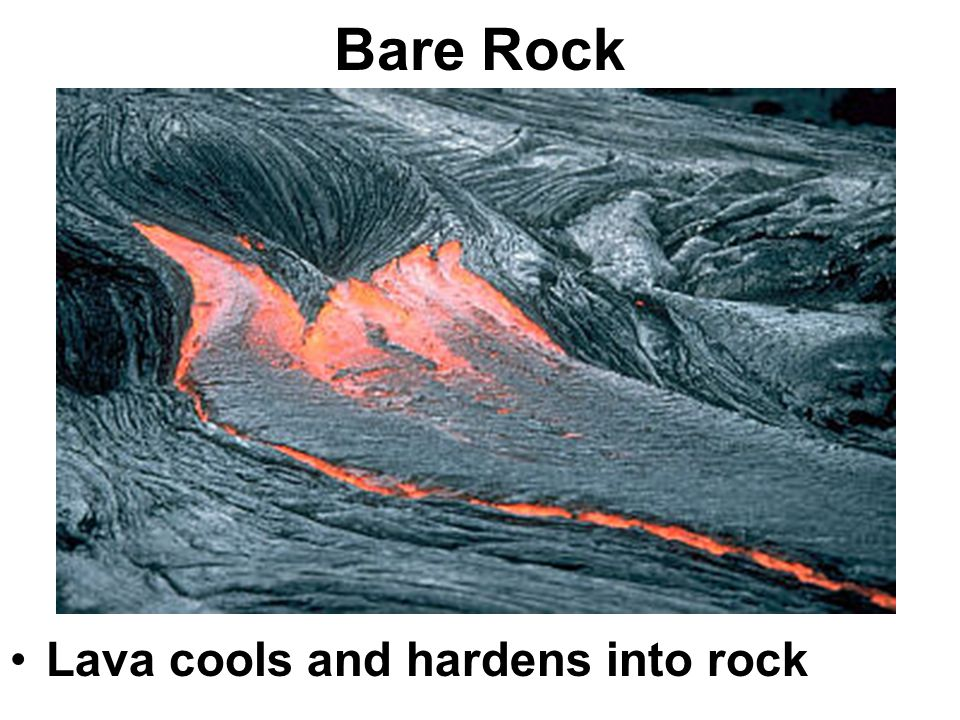 Bare Rock Lava cools and hardens into rock