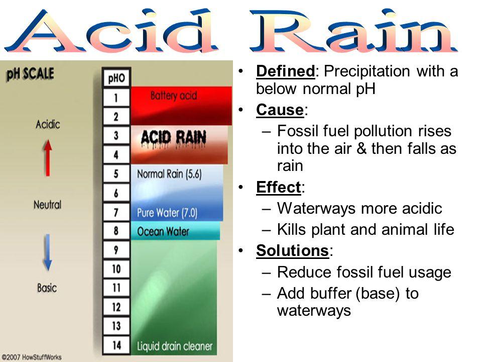 Acid Rain Defined: Precipitation with a below normal pH Cause: