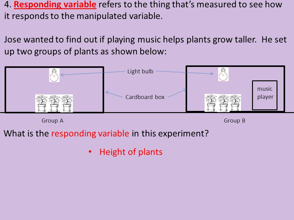 What is the responding variable in this experiment