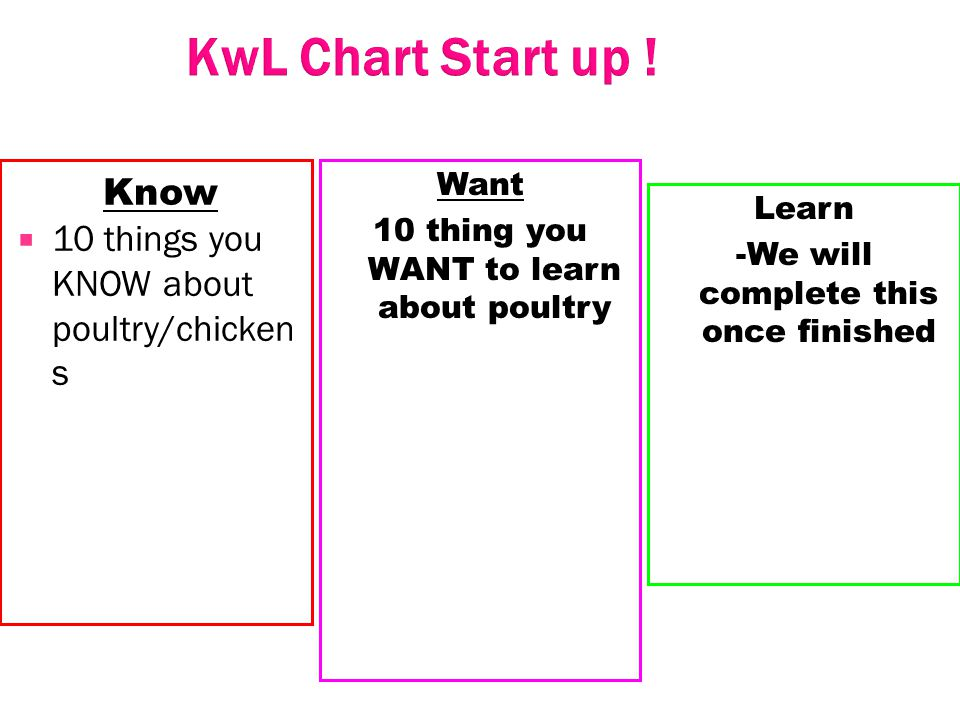 KwL Chart Start up ! Know 10 things you KNOW about poultry/chickens