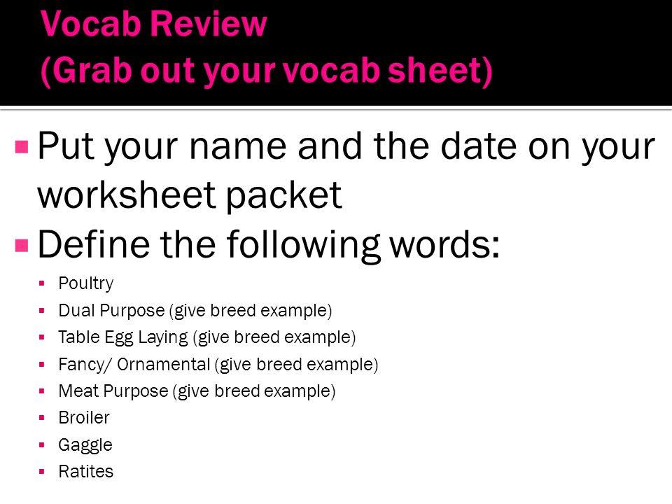 Vocab Review (Grab out your vocab sheet)